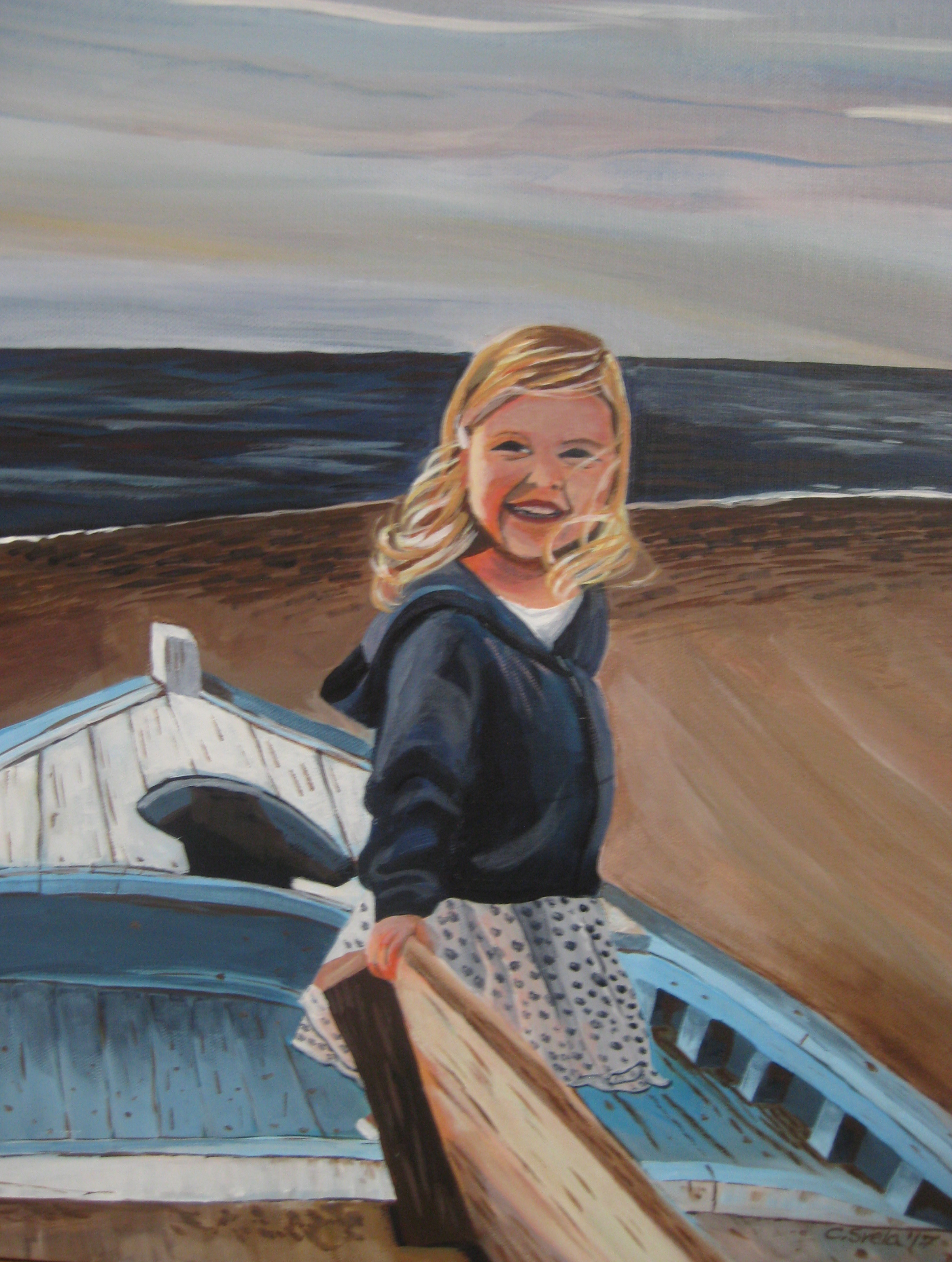 16 x 20 Acrylic painting Girl on the Beach