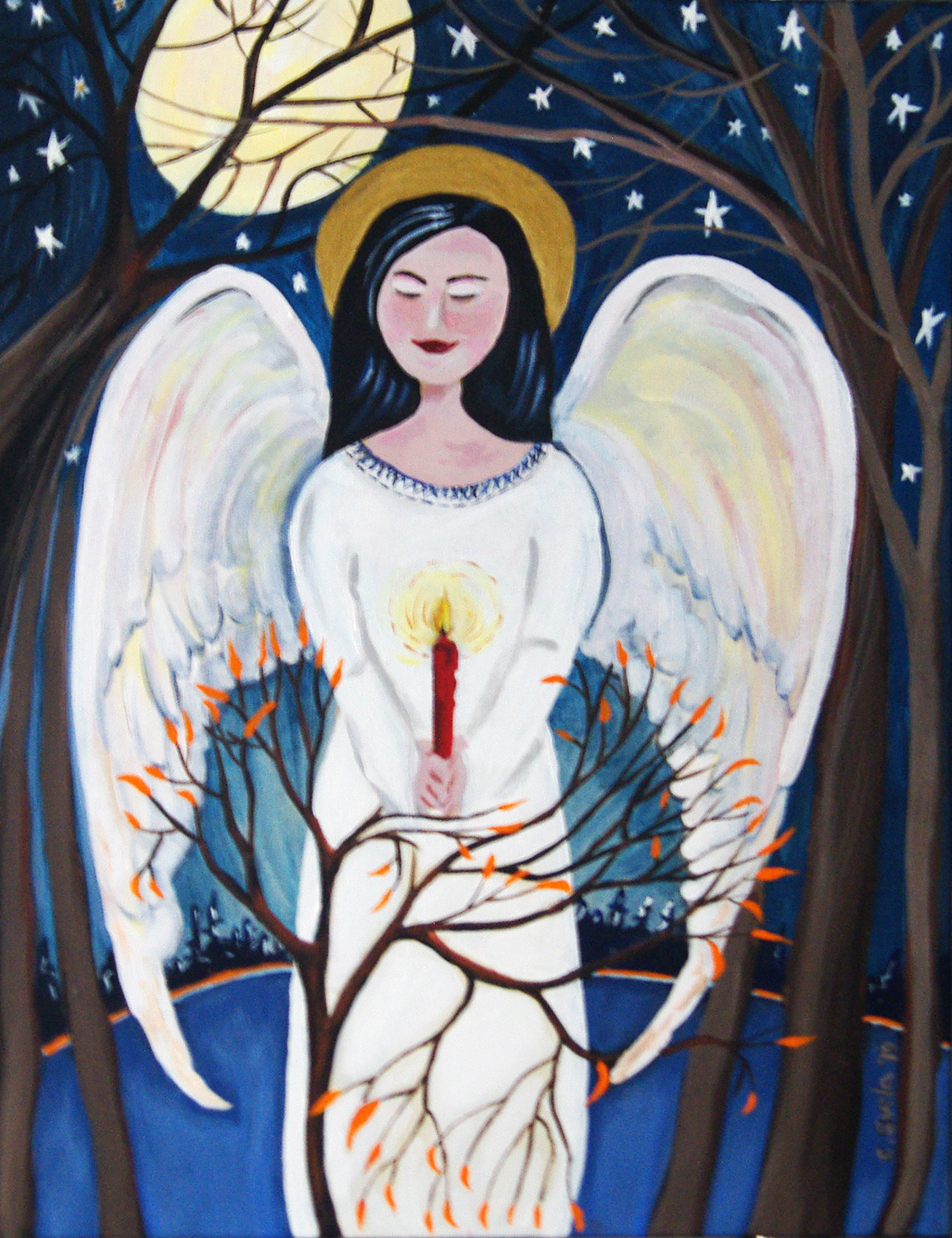 "Woodland Angel  14"" x 18"" acrylic painting"
